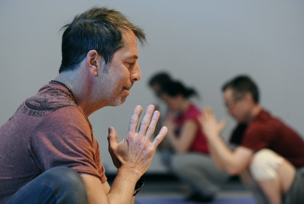 Tuesday night Adult Yoga class at the Ann Arbor YMCA, 3-4-14.
