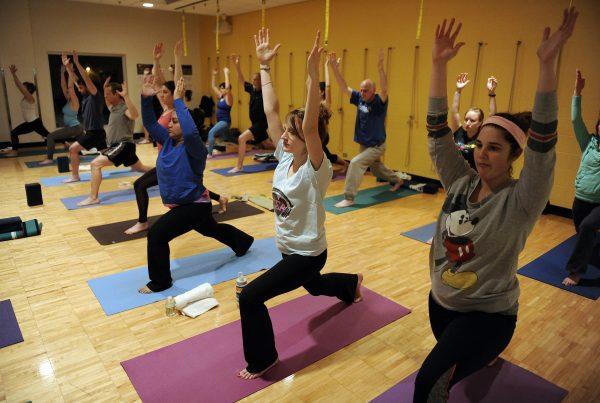 Ann Arbor YMCA Adult Yoga Class, Tuesday, January 19, 2016.