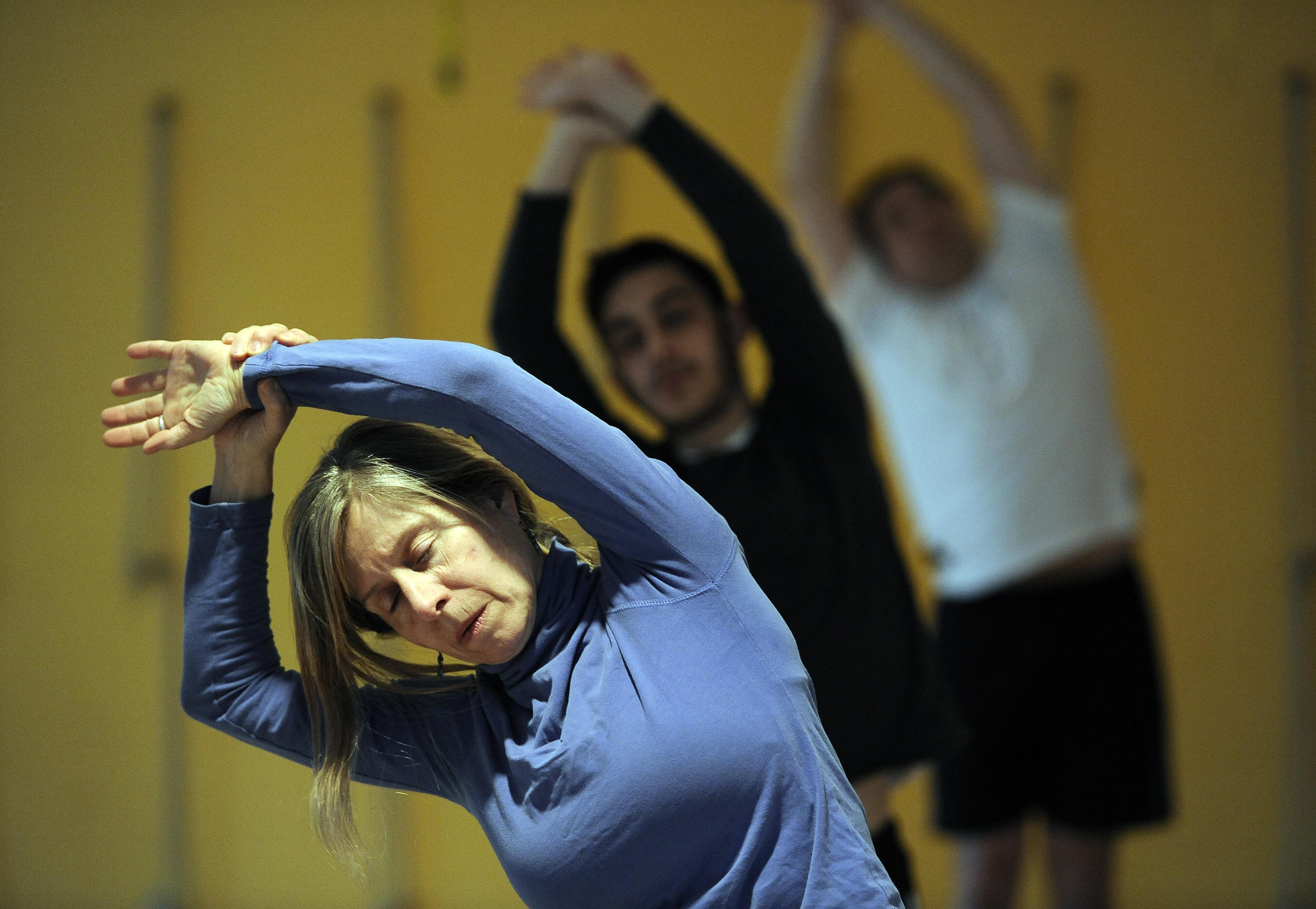 Tuesday night Adult Yoga class at the Ann Arbor YMCA, 3-4-14.